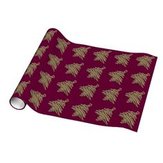 Modern Glitter Christmas Tree Burgundy Wrap Wrapping Paper