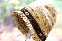 Country Girl's Autumn bonnet  Baby bonnet cotton by StarlitesChild
