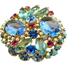 Delizza & Elster (aka: Juliana, D & E) Pale Blue Rhinestone Brooch; offered by D'Anne Brownell of 2Hearts Uptown Jewelry and Accessories.
