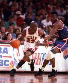 "Check out a few classic shots of Michael Jordan on the way to his third NBA Championship in the Air Jordan VIII ""Playoffs"" colorway. Jordan 23, Jeffrey Jordan, Air Jordan Iii, Jordan Bulls, Michael Jordan Chicago Bulls, Charlotte Hornets, Nba Players, Basketball Players, Jordans Girls"