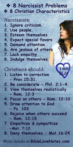 "This list with a short Bible study attached helps Christians discern between the narcissist ""flavor"" or our present culture and Christian values."