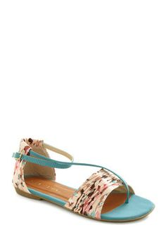 Twist of Gait Sandal in Turquoise, #ModCloth