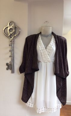Our elegant white crochet dress with lace detail £36.95 and brown waterfall cardigan with black belt 35.00 - FREE DELIVERY!