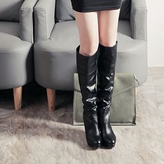 (33.11$)  Watch here  - 2016 Women Shoes Autumn Winter Knee High Boots High Thin Sexy Bowtie Platform Riding Slip-on Long Boots Botas Mujer Plus 34-43