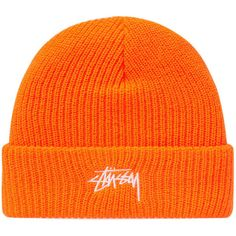 Stussy Stock HO17 Cuff Beanie (Orange)   END. ($68) ❤ liked on Polyvore featuring accessories, hats, orange hat, cuffed beanie hats, cuffed beanie, stussy hat and stussy