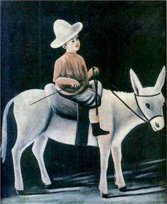 Niko Pirosmani (Georgian: 1862-1918) | A boy on a donkey | primitivism
