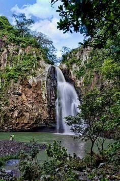 Salto de La Estanzuela waterfall.  Esteli, Nicaragua.  Estelí, officially Villa de San Antonio de Pavia de Estelí is a city and municipality within the Estelí department. It is the third largest city in Nicaragua, an active commercial center in the north and is known as the 'Diamond of the Segovias'.