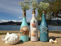Beach Weddings. Painted Wine Bottles. Wedding Centerpiece.