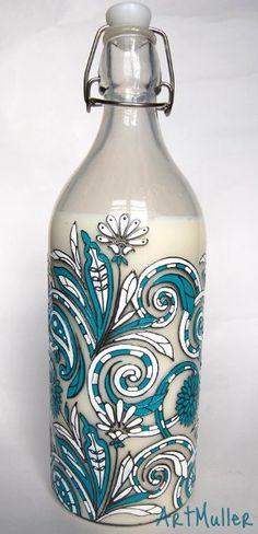 Декоративная бутылка «Бирюзовое лето»
