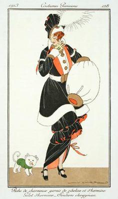 Victor Lhuer (French, fl.1912-1914). Plate 128. Robe de charmeuse garnie de zibeline et d'hermine Gilet d'hermine - Souliers clergyman 1913