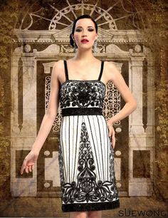 Sue Wong ivory/black short dress with beaded straps and floral motif embroidery…