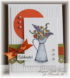 Watering can full of flowers card