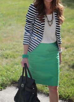 striped blazer paired with mint skirt Work Fashion, Modest Fashion, Fashion Outfits, Fashion Ideas, Mint Skirt, Blazers, Spring Work Outfits, Striped Blazer, Blazer Outfits
