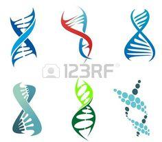 ADN y símbolos molécula establecen para la química o la biología concepto de diseño. Ilustración editable. Foto de archivo.
