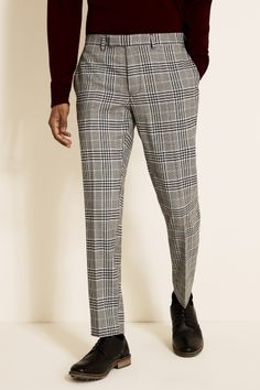 Make strides in your weekday styling with Moss Londons grey trousers Tailored to a slim fit with a cropped leg and contrast trims at the inner waistband theyre crafted in stretch fabric and woven with a highimpact check that sits comfortably with patent loafers and a white shirt
