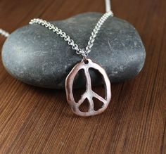 Rustic Romanitc   Peace Sign  Pendant Necklace by KLFStudio