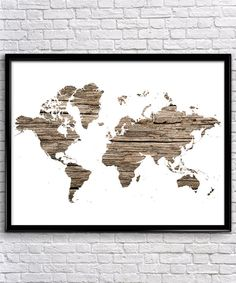 Rustic Wood/Concrete World Map   Modern Prints   Rustic Prints   Office Decor   Home Decor   Printable Wall Art   Instant Download