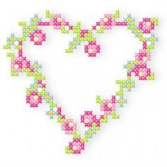 Der Stickbär | Kleines Kreuzstich-ABC | Stickmuster mit Herz