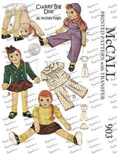 1940's Vintage McCall 903  26 inch cuddly big doll  by valeritta