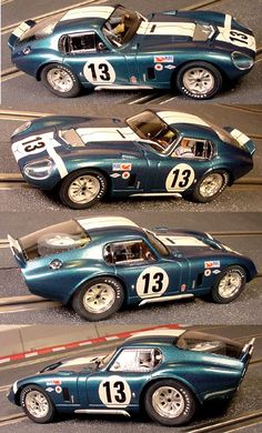 Electric Dreams, New and Vintage Slot Cars Monogram Cobra Daytona Coupe (C) - Daytona 1965 24 Hour class winner - top speeds over 180 mph - Drivers Jo Schlesser-Hal Keck. Slot Car Racing, Slot Cars, Race Cars, Auto Racing, Drag Racing, Ford Shelby Cobra, Shelby Car, Ac Cobra, Shelby Daytona