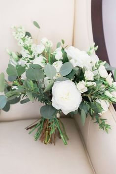 botanical wedding, garden wedding floral bouquet | white roses and eucalyptus form the most soft and gorgeous botanic bouquets