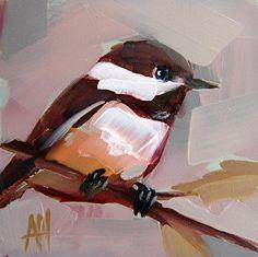Chickadee no. 52 original bird oil painting by Angela Moulton 4 x 4 inches on panel prattcreekart