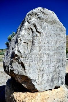 Picture of Ancient Greek writing on stone. Archaeological site of Gortyn, Crete, Greece. stock photo, images and stock photography. Greek Writing, Rock Of Ages, Minoan, Crete Greece, Greek Art, Old Stone, Archaeological Site, Ancient Artifacts, Sculptures