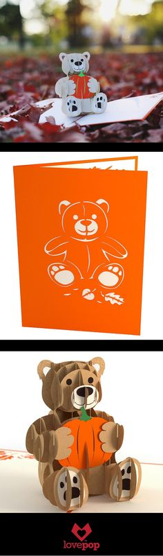 Adorable paper art pops up from this Halloween pop up card. A teddy bear holding a pumpkin is a perfect way to say Happy Halloween!
