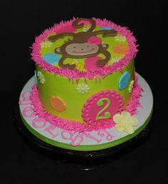 Monkey Love Birthday Party Cake