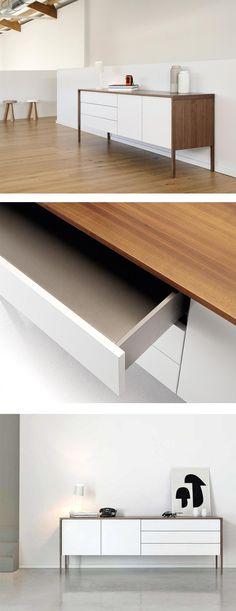 Design Sideboard RIO hochglanz Lack rot Kommode 2 Schubladen 2 - sideboard für wohnzimmer