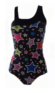 Starlite Megastar Dance & Gym Leotard. Asymmetrical Gym Leotard with wide neckline detail and tapered strap connecting centre back for maximum support. Fantastic star print design, available in child and adult sizes. Strong leotard suitable for gymnastics, fitness, zumba, yoga and all types of dance. From www.dancinginthestreet.com