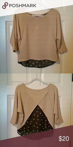 BCX gold and polka dot top NWOT. Never worn, only tried on. Sparkly gold front and sheer back with black and gold polka dots. Quarter length sleeves. BCX Tops Blouses