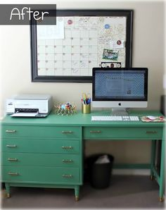 mint green work desk office corner