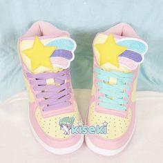 Kawaii sneakers - shooting star - fairy kei, pop kei, ulzzang, harajuku - free shipping