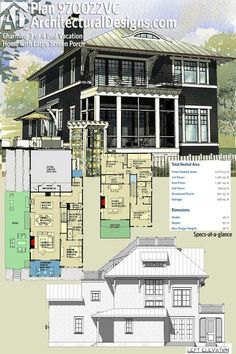Architectural Designs House Plan 970022VC is perfect for a narrow lot. It gives you over 3,400 square feet of heated living space and has a bunk room for all the friends you'll have over. Ready when you are. Where do YOU want to build?