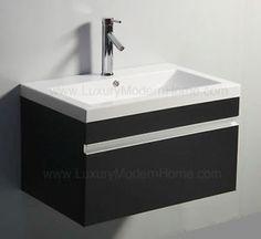 Vanity Sink 30 inch Espresso Black Modern Bathroom Cabinet Wall Hung Floating | eBay