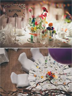 Eclectic mix of flowers and jars As table decorations help bring in the chic look to the fun and contemporary...Rainbow Wedding