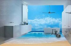 beach design for self leveling floor in modern bathroom   I wouldn't do the mural but having that floor in a bathroom would be so cool!