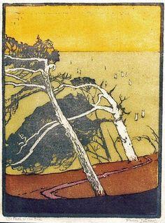 Pedro Joseph de Lemos, American painter, printmaker b.1882  woodblock