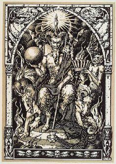 """Satán preside el Sabbath, atendido por demonios en forma humana y animal. Por Bernard Zuber. Del libro """"La Vie Execrable de Guillemette Babin"""", Sorciere. Paris, H. Piazza, 1926. http://iglesiadesatan.com/"""