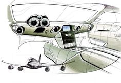 #Mercedes SLS's 'aviation engineering' theme illustrated in this interior design #sketch showing wing-shaped IP and four air vents. #cardesign
