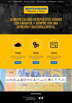 Maqueta de sitio web para empresa de repuestos de autos.