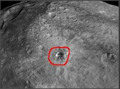 Astronomers are very curious about some of Vesta's surface features, especially this crater because it stands out from all the others and is the deepest crater on Vesta.