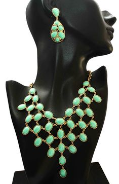 BG's Aquamarine Stone Necklace Set will Go Perfectly Well with Your Chosen Party Attire #stonenecklace #bibnecklaceset #statementnecklaceset #fashionnecklaceset #necklaceset #chicjewelry #fashionjewelry #partynecklace