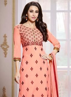 Peach Karisma Kapoor Straight Pant Suit