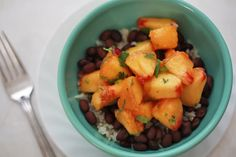 Another favorite from last summer--  black beans and rice with peach salsa.  (Can substitute mango for peaches)