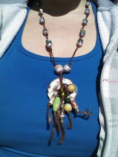 Wearing my paper bead necklace. Misti Howes Design