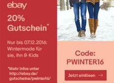 Ebay: 20 Prozent Wintermode-Rabatt mit Top-Marken wie Hugo Boss https://www.discountfan.de/artikel/klamotten_&_schuhe/ebay-20-prozent-wintermode-rabatt-mit-top-marken-wie-hugo-boss.php Ab sofort und nur bis zum 7. Dezember lockt bei Ebay ein Wintermode-Rabatt von 20 Prozent. Mit dabei sind Top-Marken wie Hugo Boss, Adidas, Seidensticker und Puma. Ebay: 20 Prozent Wintermode-Rabatt mit Top-Marken wie Hugo Boss (Bild: Ebay.de) Um an den Wintermode-Rabatt von 20 Prozent bei Eb
