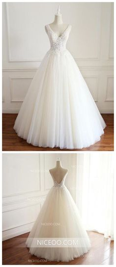 737c9a11cf White V Neck Open Back Sleeveless Tulle Wedding Dresses Bride Gown  #weddingdress #wedding #