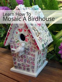 Broken china mosaics are so charming, and with this lesson, you can learn how to break china plates into tiles and make them into a mosaic birdhouse.